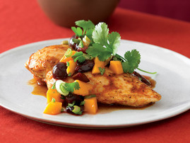 A plate of Chicken with Mango-Cherry Salsa