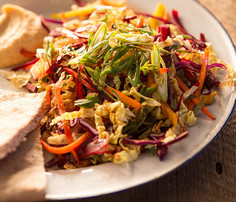 A plate of Rainbow Slaw with Miso Dressing