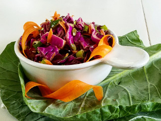 A bowl of Red Cabbage Slaw with Coriander Vinaigrette